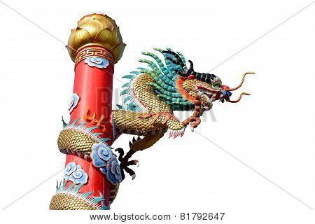 Chinese Style Golden Dragon Statue Isolated On White