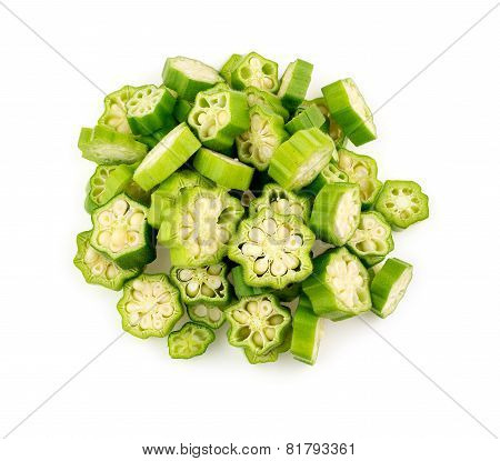 Aerial Top View Of Isolated Okra On White