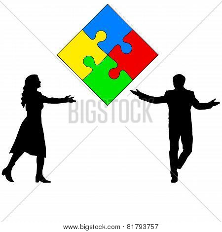 Jigsaw puzzle hold silhouettes of men and women. Vector illustra