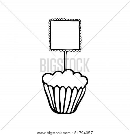 Cupcake sketch with frilly square topper
