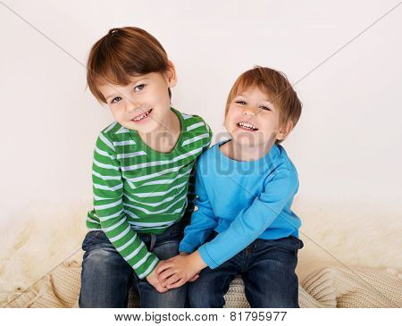Kids Laughing And Hugging