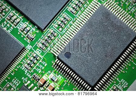 Close-up Of Electronic Circuit Board. Macro .