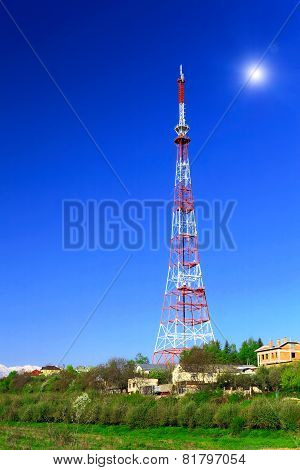 Big Television Transmitter And Landscape View Of The Caucasus Mountains.