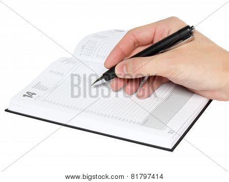 Men's Hand Write Some In Organazer.