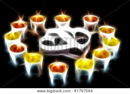 Two Hearts, Surrounded Small Candles.