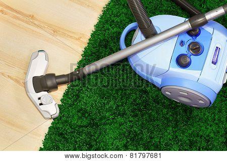 Blue vacuum cleaner .