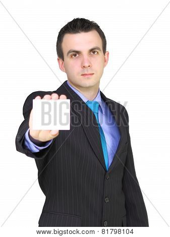 Caucasian Businessman With Empty,blank White Card.