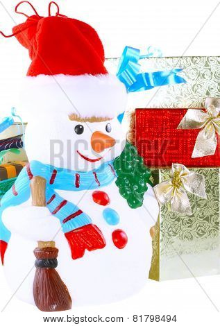 New Year Decoration- Snowman. Isolated.