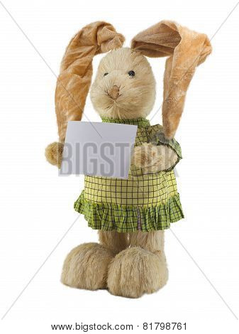 Straw Rabbit With Blank Card.
