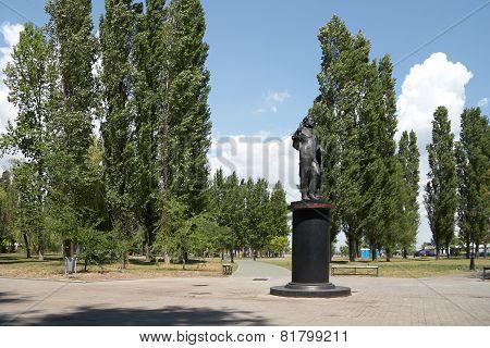 Monuments Of Pushkin On Pushkinskaya Quay.