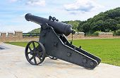 pic of cannon-ball  - Ancient cannon for protection old castle Lviv - JPG