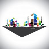stock photo of skyscrapers  - vector icon  - JPG