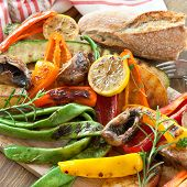stock photo of vegan  - Colorful grilled summer vegetables for a vegan  - JPG