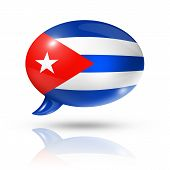image of three-dimensional  - three dimensional Cuba flag in a speech bubble isolated on white with clipping path - JPG