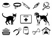 stock photo of bag-of-dog-food  - Vector set of icons veterinary medical care to pets - JPG