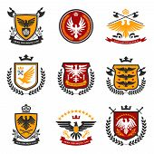 stock photo of shield  - Heraldic emblems and shield set with eagle birds isolated vector illustration - JPG