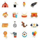 image of circus clown  - Circus performance icon flat set with tent clown rabbit in hat isolated vector illustration - JPG