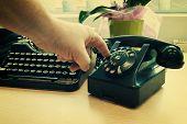 foto of old vintage typewriter  - Vintage phone and old typewriter  - JPG