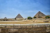 stock photo of the great pyramids  - The Great pyramids of Giza with the Sphinx - JPG