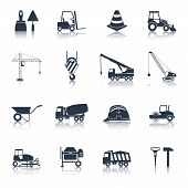 foto of elevator icon  - Construction icons black set with hammer crane helmet drill symbols isolated vector illustration - JPG
