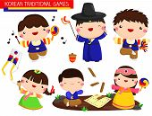 stock photo of hanbok  - a vector of a korean traditional games - JPG