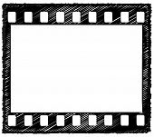 pic of storyboard  - Sketch style artwork of 35mm film frame with sprocket holes originally drawn in Illustrator so the outline is crisp - JPG