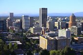 image of portland oregon  - A panorama and skyline view of the city of Portland Oregon from the western hills - JPG