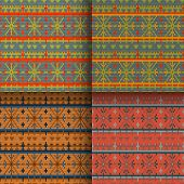 stock photo of scandinavian  - set of traditional christmas knitted Scandinavian seamless patterns - JPG