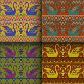 pic of scandinavian  - set of traditional christmas knitted Scandinavian seamless patterns - JPG