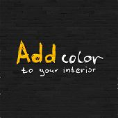 stock photo of shale  - Add color to your interior phrase on black brick wall - JPG