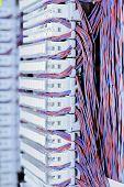 stock photo of telecommunications equipment  - Telecommunication equipment E1 cross in a datacenter of mobile operator - JPG