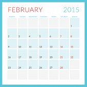 stock photo of february  - Calendar 2015 vector flat design template - JPG
