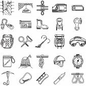 pic of outfits  - Set of black line vector icons for equipment and outfit for rock climbing - JPG