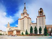 foto of mater  - Lomonosov Moscow State University Main Building main entrance. ** Note: Soft Focus at 100%, best at smaller sizes - JPG
