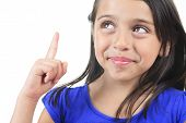 stock photo of sissy  - Columbian Little Girl Fun Look in front of a white background - JPG