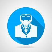 image of long beard  - Flat blue circle vector icon with white silhouette doctor with beard and glasses on gray background - JPG