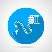 picture of paracord  - Flat line blue round vector icon with white contour monkeys fist weapon on gray background - JPG