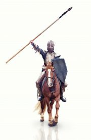stock photo of horse-riders  - Medieval knigt with the lance riding the horse - JPG