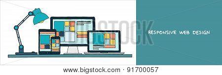 Hand drawn vector illustration of responsive web design.