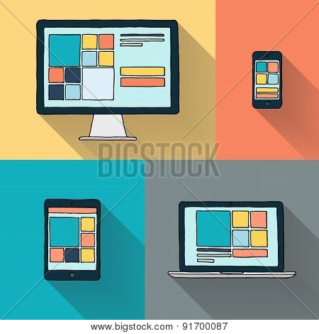 Hand drawn desktop computer, laptop, tablet and smart phone on color background.