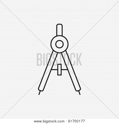 Stationery Compasses Line Icon