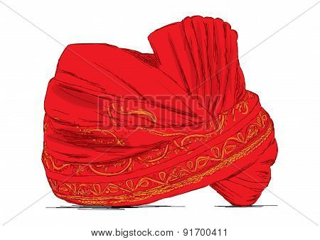 Indian Headgear Turban Used In Marriages - Vector Illustration
