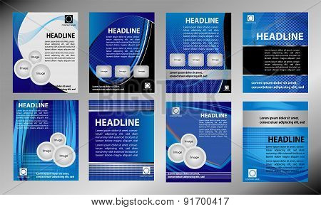 Set of Blue Brochure cover design vector template