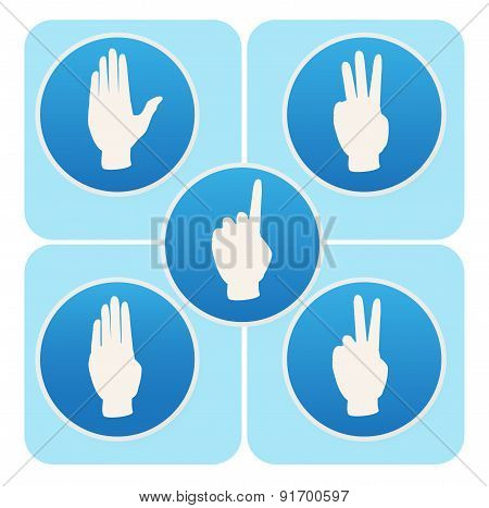 Hand Poses In Round Icons Counting From One To Five