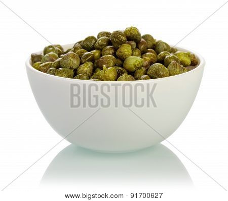 Bowl with capers isolated