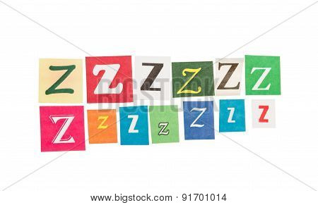 Letters Z from newspapers