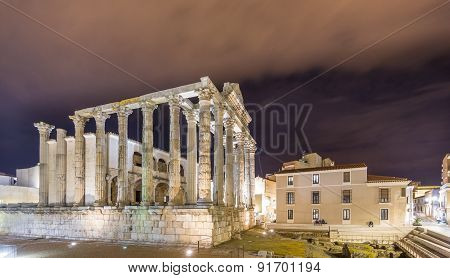 Night view of Temple of Diana in Merida, wide angle