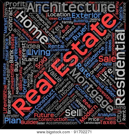 Concept or conceptual abstract home, real estate or housing word cloud or wordcloud isolated on black background