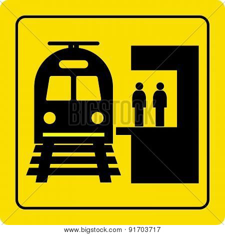 railway station yellow sign vector