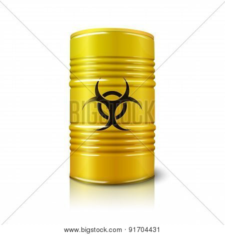 Realistic bright yellow big barrel with biohazard sign, isolated on white.